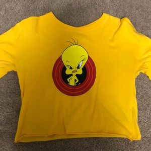 loony-tunes yellow cropped long sleeve
